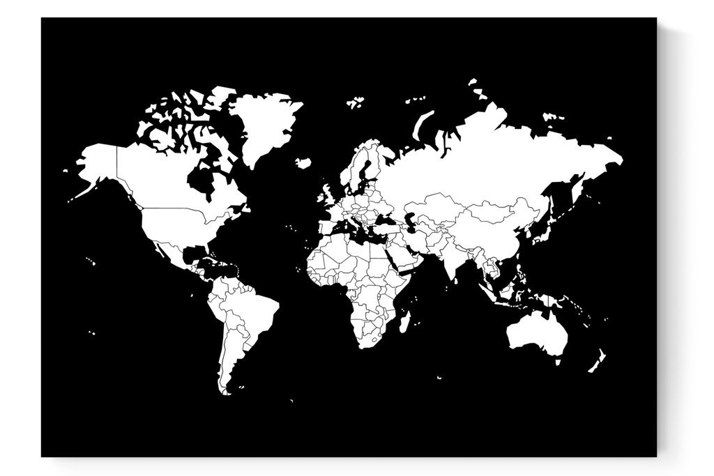 Weltkarte Poster In Schwarz Weiß Länder Zum Abziehen